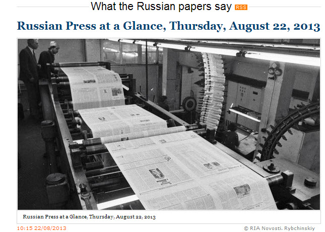 RIA-Novosti-What-The-Russian-Papers-say_Thursday-22-August-2013