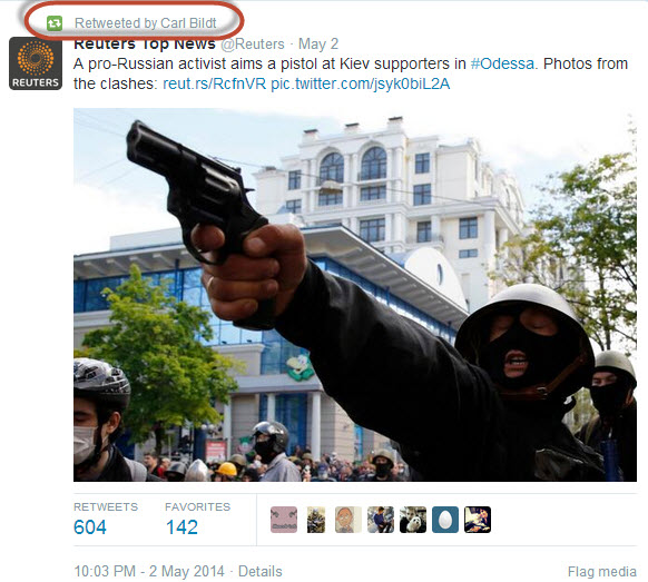 "Re-tweet by Carl Bildt which falsely calls a neo-fascist murderer for ""pro-Russian-activist"""